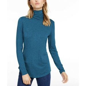 Maison Jules Womens Turtleneck T-Shirt Top Teal Long Sleeve Solid Stretch XL New